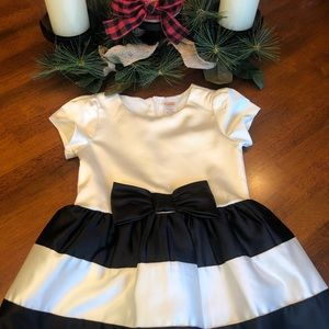 Black and Ivory Holiday Dress with Bow Detail